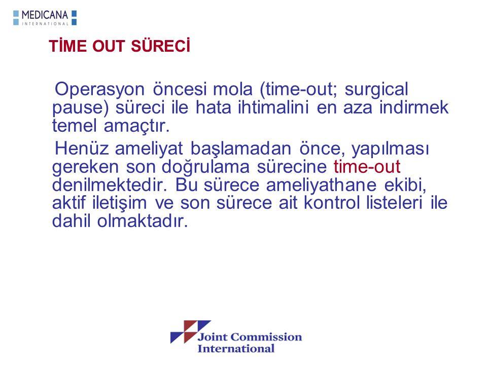 TİME OUT SÜRECİ Operasyon öncesi mola (time-out; surgical pause) süreci ile hata ihtimalini en aza indirmek temel amaçtır. Henüz ameliyat başlamadan ö