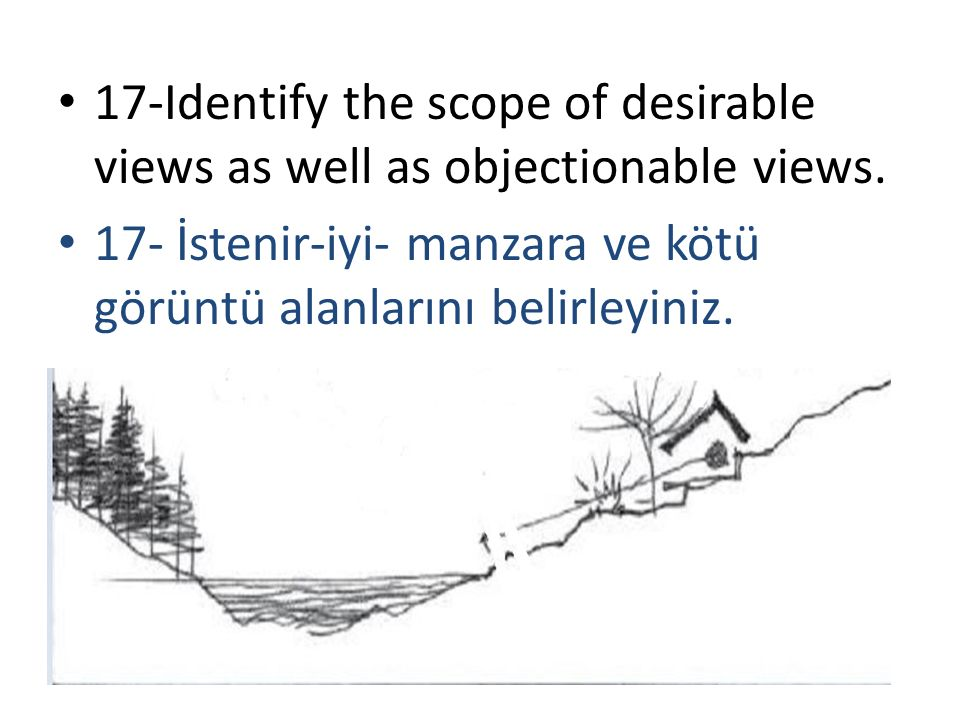 17-Identify the scope of desirable views as well as objectionable views.