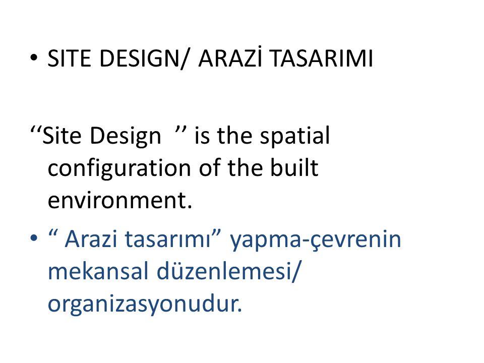 5-Architectural structures in the immediate setting that impact the proposed building, 5- Önerilen yapının/binanın yakın çevresinde olup, onu etkileyecek olan/etkileyen mimari strüktürler, 6- Pedestrian and vehicular entry points and paths, 6- Yaya ve taşıtlar için girişler ve yollar,