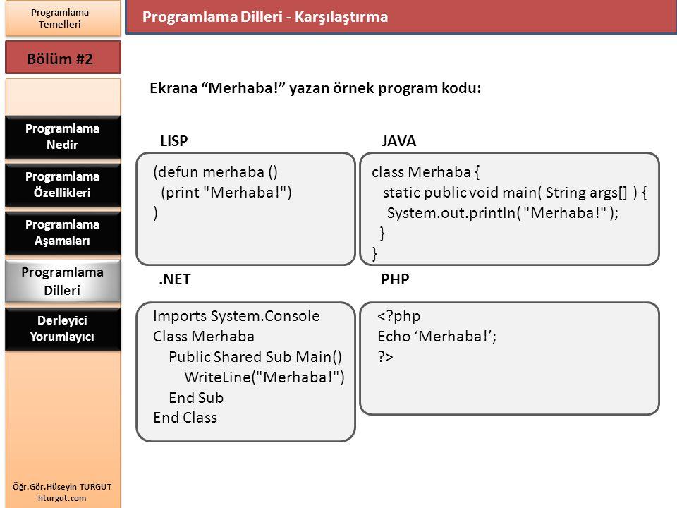 Öğr.Gör.Hüseyin TURGUT hturgut.com Programlama Temelleri Bölüm #2 Programlama Dilleri - Karşılaştırma Programlama Nedir Programlama Özellikleri Progra