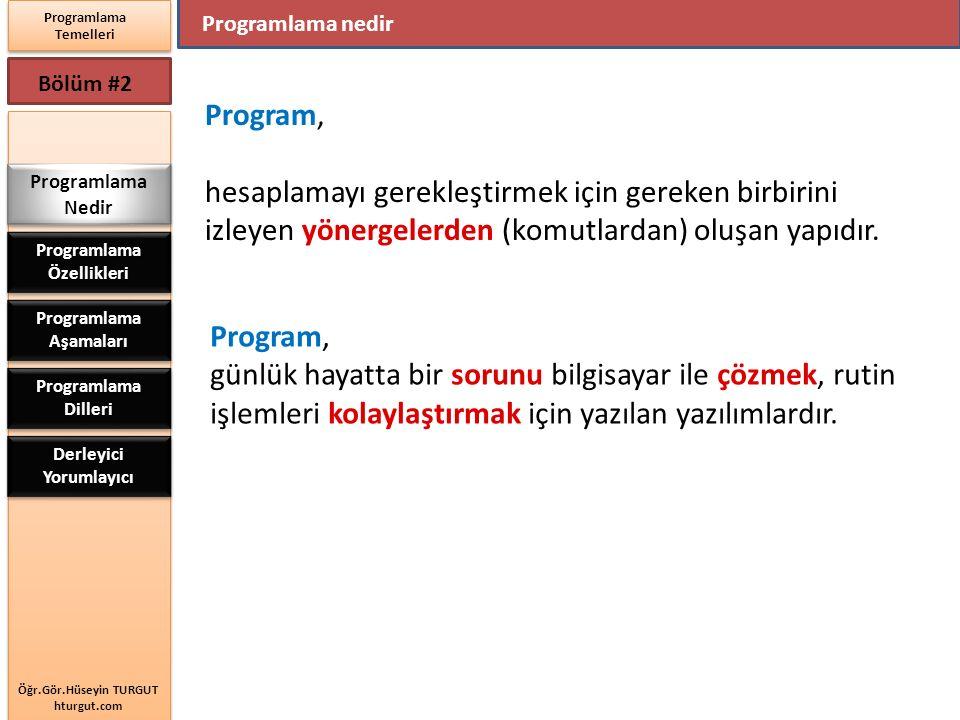 Öğr.Gör.Hüseyin TURGUT hturgut.com Programlama Temelleri Bölüm #2 Programlama nedir Programlama Nedir Programlama Özellikleri Programlama Aşamaları Pr