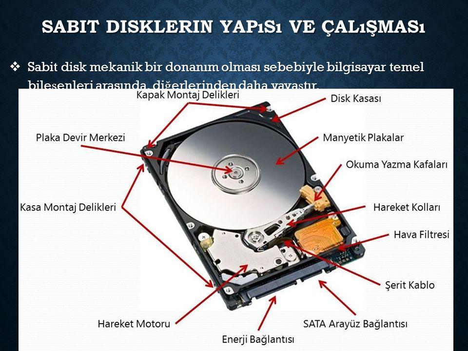 SABIT DISKLERIN YAPıSı VE ÇALıŞMASı  Sabit disk mekanik bir donanım olması sebebiyle bilgisayar temel bile ş enleri arasında, di ğ erlerinden daha yava ş tır.