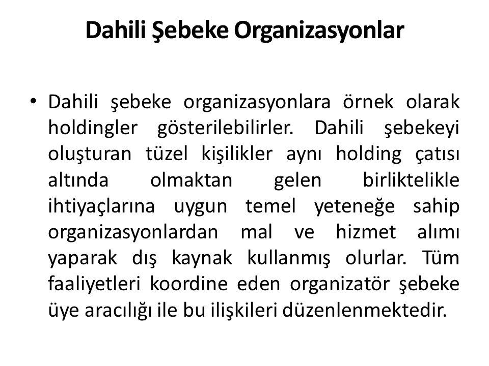 Dahili Şebeke Organizasyonlar Dahili şebeke organizasyonlara örnek olarak holdingler gösterilebilirler.