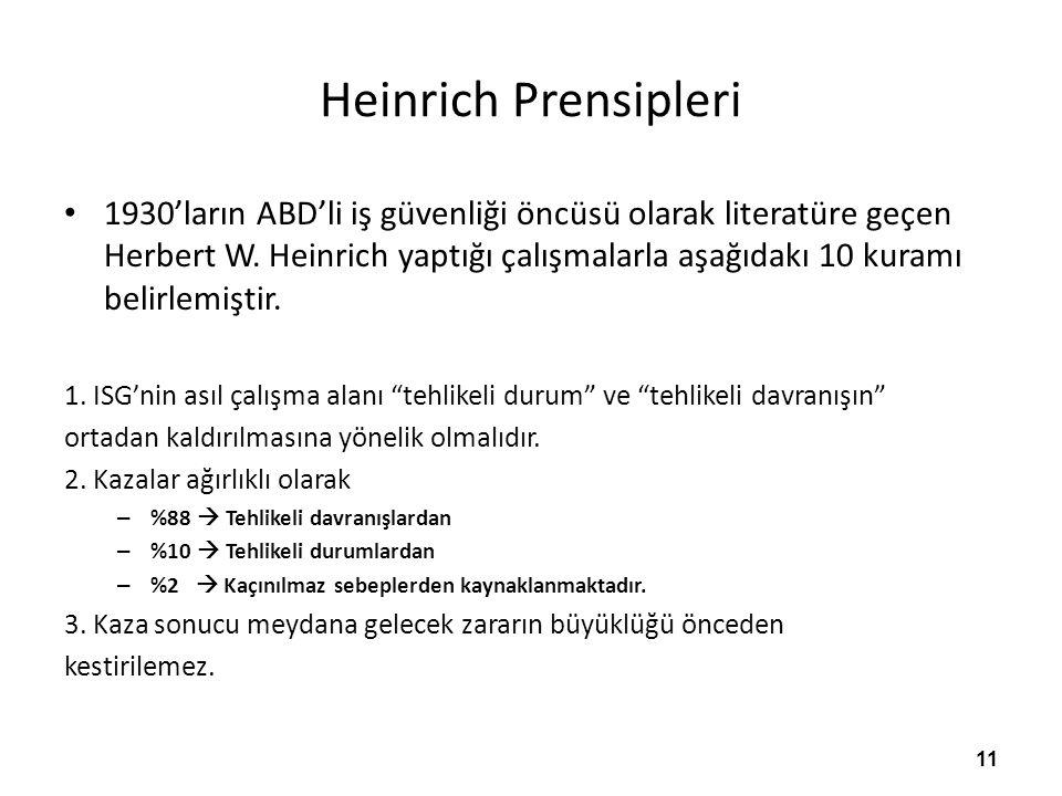 Heinrich Prensipleri 1930'ların ABD'li iş güvenliği öncüsü olarak literatüre geçen Herbert W.
