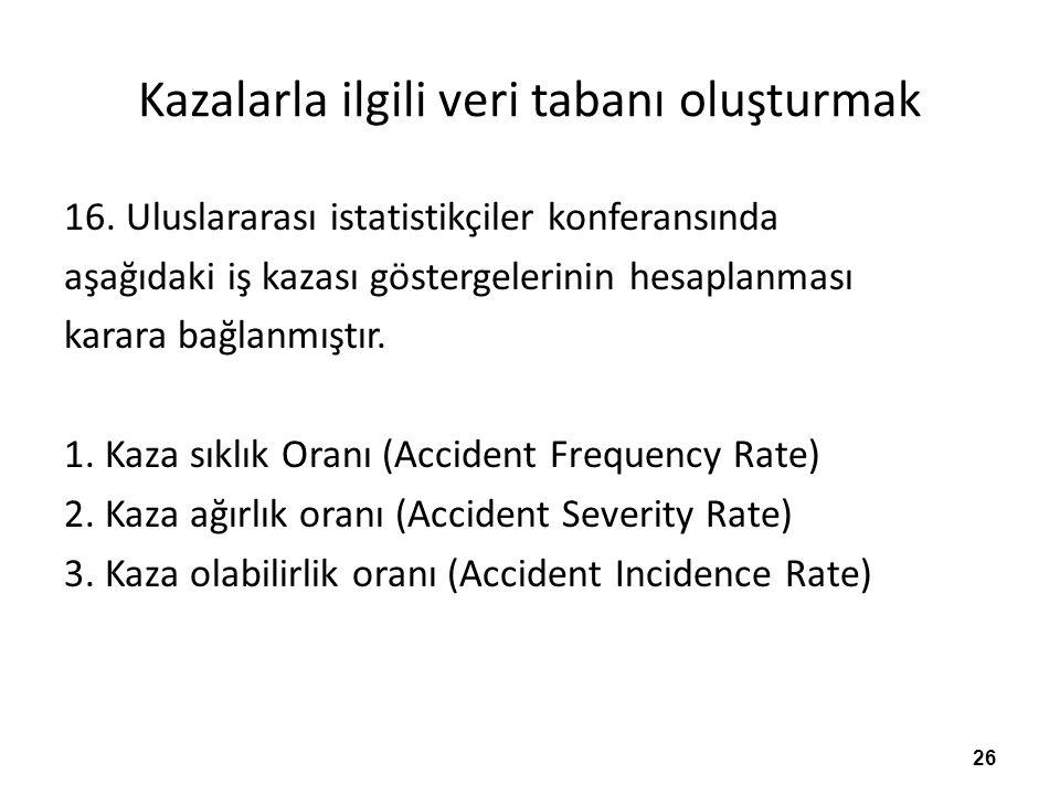 Kazalarla ilgili veri tabanı oluşturmak 16.
