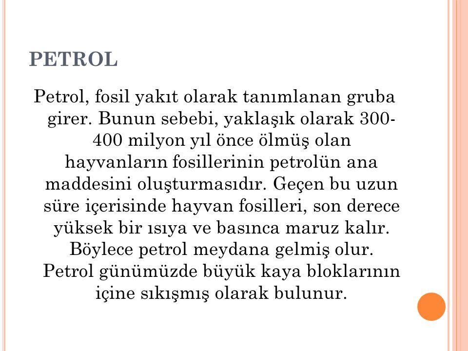 PETROL Petrol, fosil yakıt olarak tanımlanan gruba girer. Bunun sebebi, yaklaşık olarak 300- 400 milyon yıl önce ölmüş olan hayvanların fosillerinin p