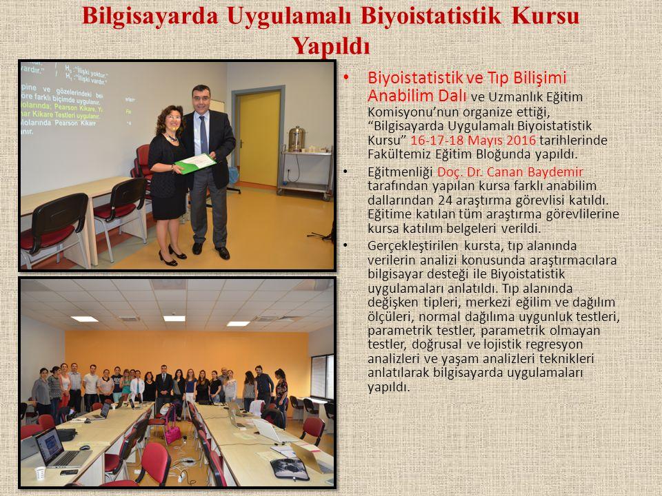 Bilgisayarda Uygulamalı Biyoistatistik Kursu Yapıldı Biyoistatistik ve Tıp Bilişimi Anabilim Dalı ve Uzmanlık Eğitim Komisyonu'nun organize ettiği, Bilgisayarda Uygulamalı Biyoistatistik Kursu 16-17-18 Mayıs 2016 tarihlerinde Fakültemiz Eğitim Bloğunda yapıldı.