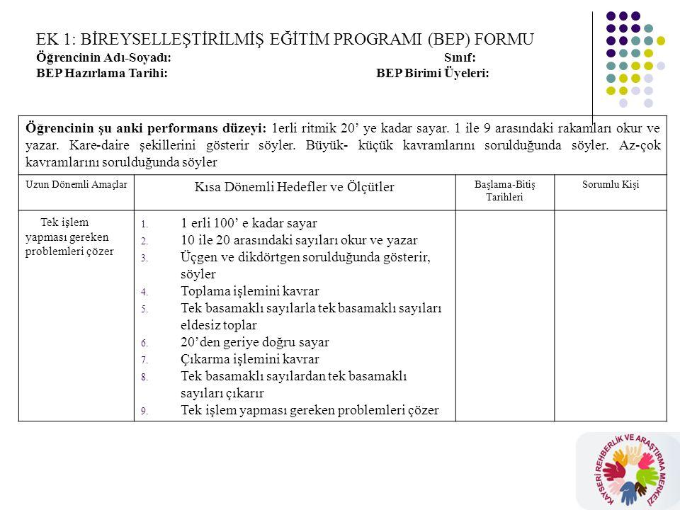 EK 1: BİREYSELLEŞTİRİLMİŞ EĞİTİM PROGRAMI (BEP) FORMU Öğrencinin Adı-Soyadı: Sınıf: BEP Hazırlama Tarihi: BEP Birimi Üyeleri: Öğrencinin şu anki performans düzeyi: 1erli ritmik 20' ye kadar sayar.