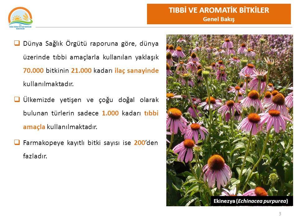 14 TIBBİ VE AROMATİK BİTKİLER Türkiye Dış Ticaret Türkiye Toplam Tıbbi ve Aromatik Bitkiler İthalat, İhracat, Miktar ve Tutarları * * TUİK 2014 Dış Ticaret verileri