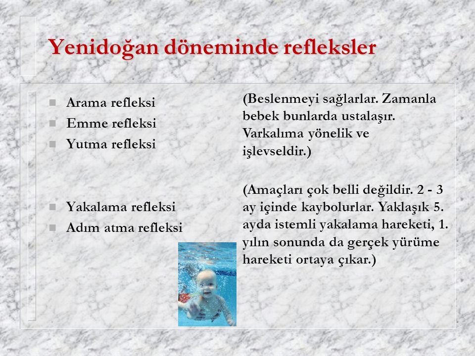 Yenidoğan döneminde refleksler n Arama refleksi n Emme refleksi n Yutma refleksi n Yakalama refleksi n Adım atma refleksi (Amaçları çok belli değildir