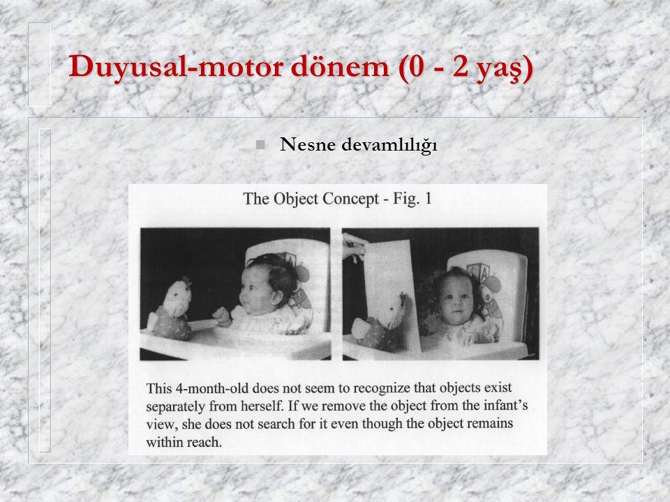 Duyusal-motor dönem (0 - 2 yaş) n Nesne devamlılığı