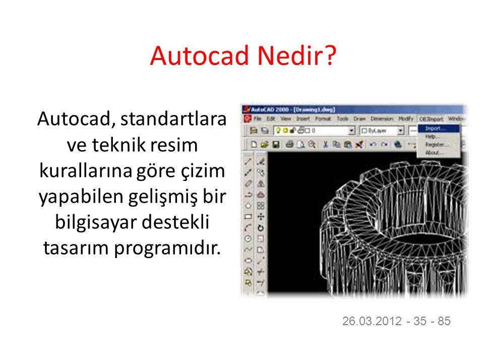 Autocad Nedir? Autocad, standartlara ve teknik resim kurallarına göre çizim yapabilen gelişmiş bir bilgisayar destekli tasarım programıdır. 26.03.2012