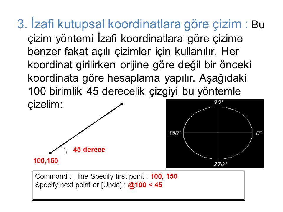 3. İzafi kutupsal koordinatlara göre çizim : Bu çizim yöntemi İzafi koordinatlara göre çizime benzer fakat açılı çizimler için kullanılır. Her koordin