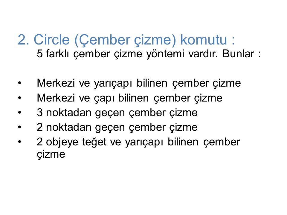 2. Circle (Çember çizme) komutu : 5 farklı çember çizme yöntemi vardır. Bunlar : Merkezi ve yarıçapı bilinen çember çizme Merkezi ve çapı bilinen çemb