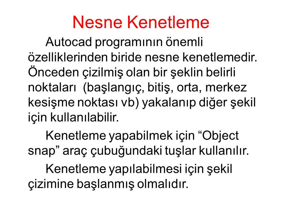 Nesne Kenetleme Autocad programının önemli özelliklerinden biride nesne kenetlemedir. Önceden çizilmiş olan bir şeklin belirli noktaları (başlangıç, b