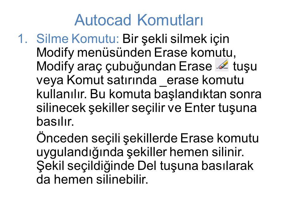 Autocad Komutları 1.Silme Komutu: Bir şekli silmek için Modify menüsünden Erase komutu, Modify araç çubuğundan Erase tuşu veya Komut satırında _erase