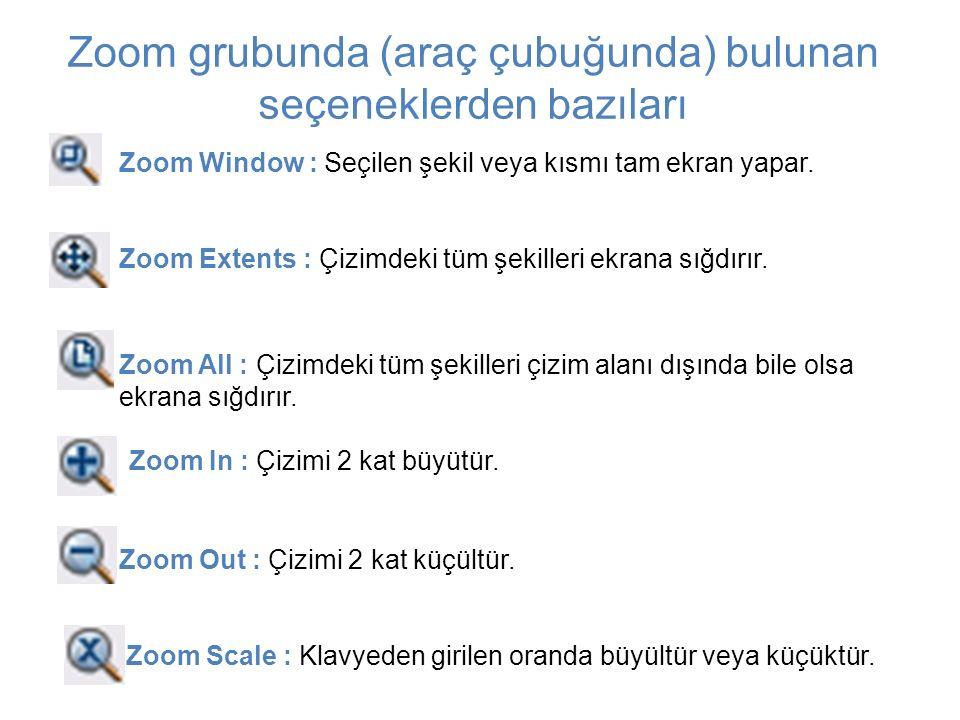 Zoom Window : Seçilen şekil veya kısmı tam ekran yapar. Zoom Extents : Çizimdeki tüm şekilleri ekrana sığdırır. Zoom All : Çizimdeki tüm şekilleri çiz