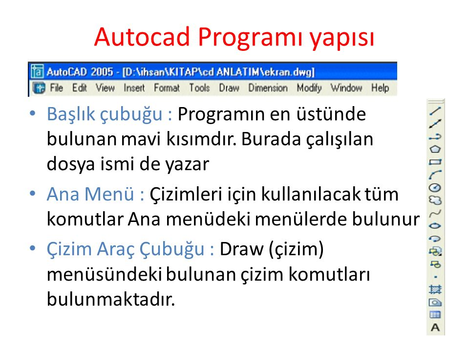 Autocad Programı yapısı Başlık çubuğu : Programın en üstünde bulunan mavi kısımdır. Burada çalışılan dosya ismi de yazar Ana Menü : Çizimleri için kul