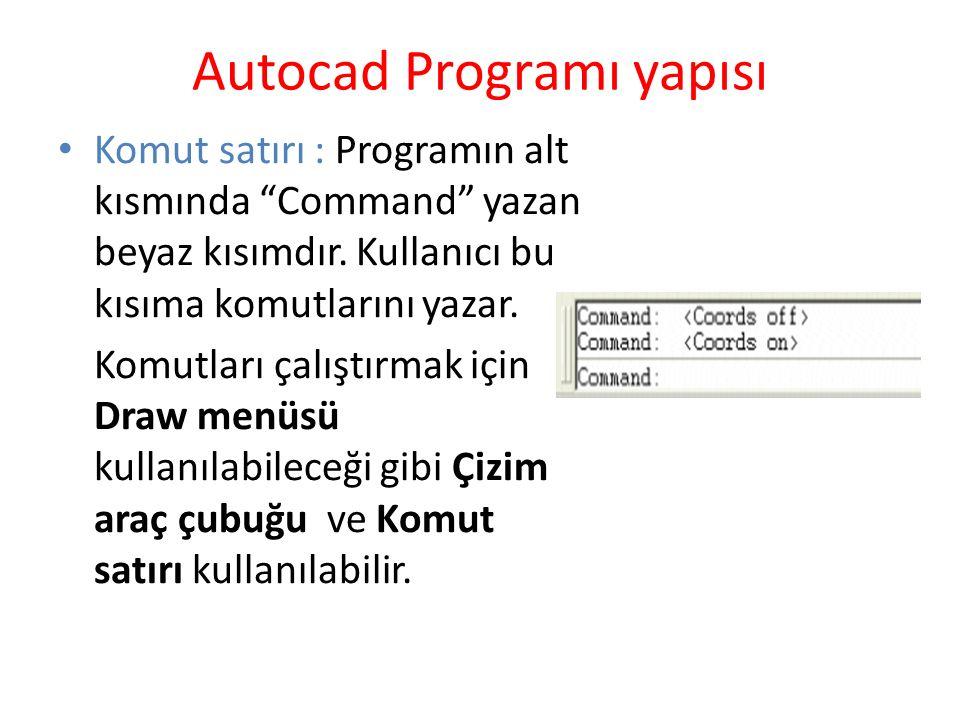 """Autocad Programı yapısı Komut satırı : Programın alt kısmında """"Command"""" yazan beyaz kısımdır. Kullanıcı bu kısıma komutlarını yazar. Komutları çalıştı"""