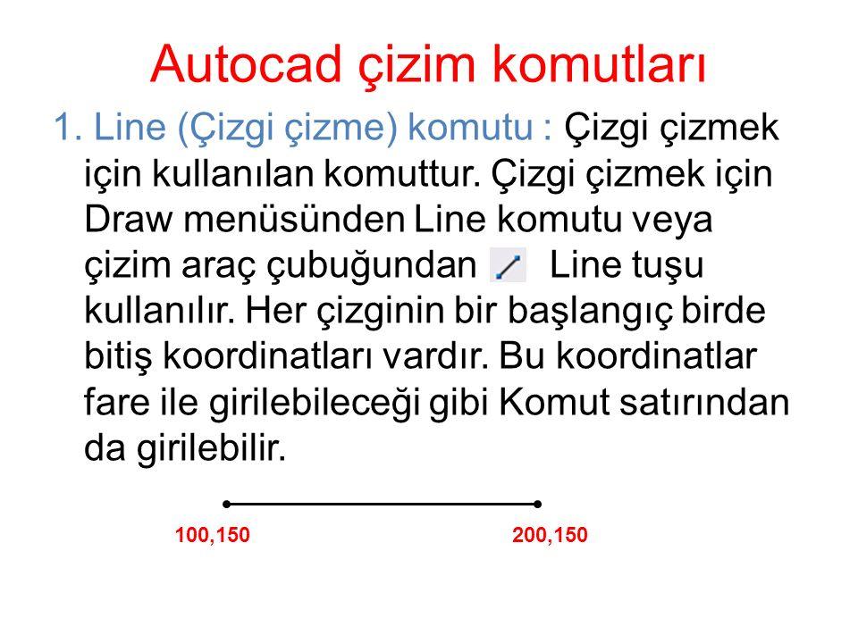1. Line (Çizgi çizme) komutu : Çizgi çizmek için kullanılan komuttur. Çizgi çizmek için Draw menüsünden Line komutu veya çizim araç çubuğundan Line tu