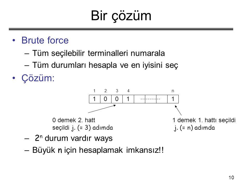 10 Bir çözüm Brute force –Tüm seçilebilir terminalleri numarala –Tüm durumları hesapla ve en iyisini seç Çözüm: – 2 n durum vardır ways –Büyük n için hesaplamak imkansız!.