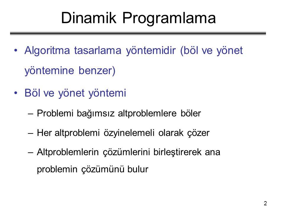 53 Özyinelemeli çözüm Durum 1: x i = y j Örnek.: X i =  A, B, D, E  Y j =  Z, B, E  –x i = y j ise X i-1 ve Y j-1 için problemi çöz –Bunu yapabilmemizin nedeni: optimal çözüm, altproblemlerin de optimal çözümünü içermektedir c[i, j] = c[i - 1, j - 1] + 1
