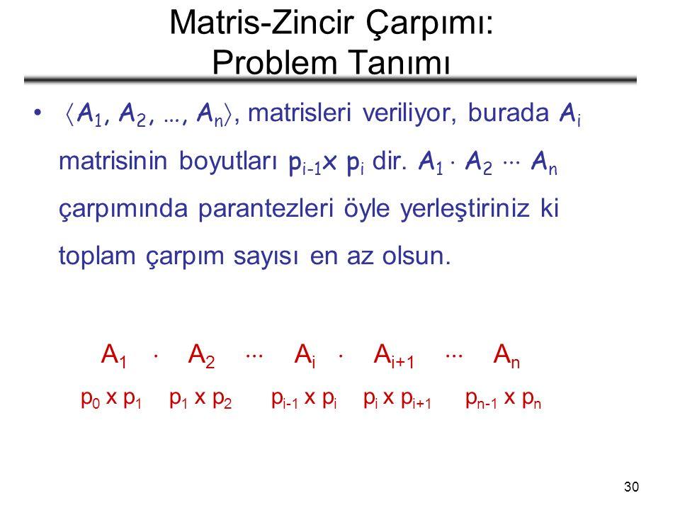 30 Matris-Zincir Çarpımı: Problem Tanımı  A 1, A 2, …, A n , matrisleri veriliyor, burada A i matrisinin boyutları p i-1 x p i dir.
