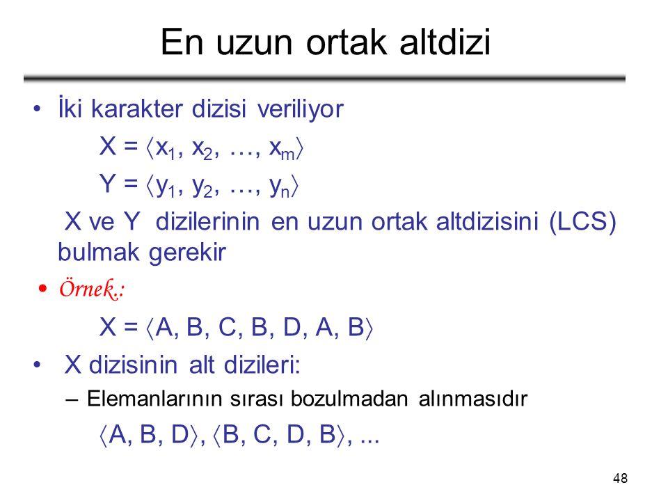 48 En uzun ortak altdizi İki karakter dizisi veriliyor X =  x 1, x 2, …, x m  Y =  y 1, y 2, …, y n  X ve Y dizilerinin en uzun ortak altdizisini (LCS) bulmak gerekir Örnek.: X =  A, B, C, B, D, A, B  X dizisinin alt dizileri: –Elemanlarının sırası bozulmadan alınmasıdır  A, B, D ,  B, C, D, B ,...