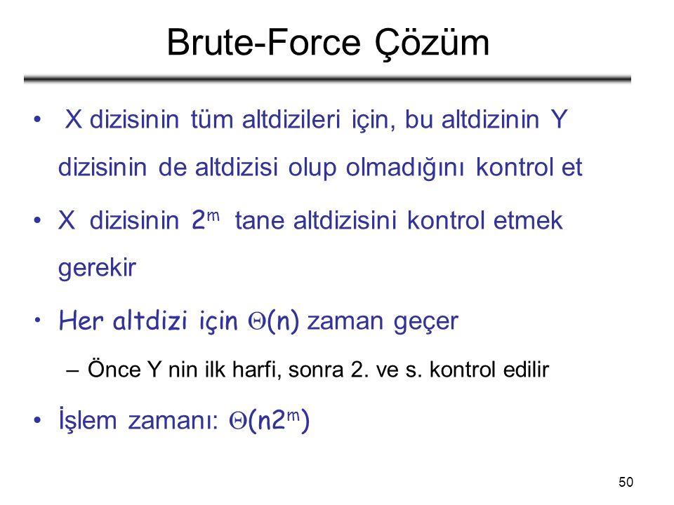 50 Brute-Force Çözüm X dizisinin tüm altdizileri için, bu altdizinin Y dizisinin de altdizisi olup olmadığını kontrol et X dizisinin 2 m tane altdizisini kontrol etmek gerekir Her altdizi için  (n) zaman geçer –Önce Y nin ilk harfi, sonra 2.