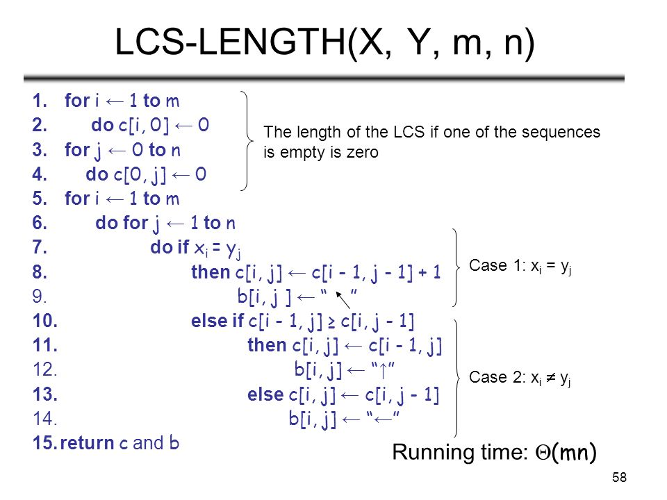 58 LCS-LENGTH(X, Y, m, n) 1. for i ← 1 to m 2. do c[i, 0] ← 0 3.