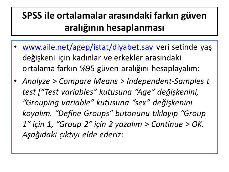 SPSS ile ortalamalar arasındaki farkın güven aralığının hesaplanması www.aile.net/agep/istat/diyabet.sav veri setinde yaş değişkeni için kadınlar ve erkekler arasındaki ortalama farkın %95 güven aralığını hesaplayalım: www.aile.net/agep/istat/diyabet.sav Analyze > Compare Means > Independent-Samples t test [ Test variables kutusuna Age değişkenini, Grouping variable kutusuna sex değişkenini koyalım.