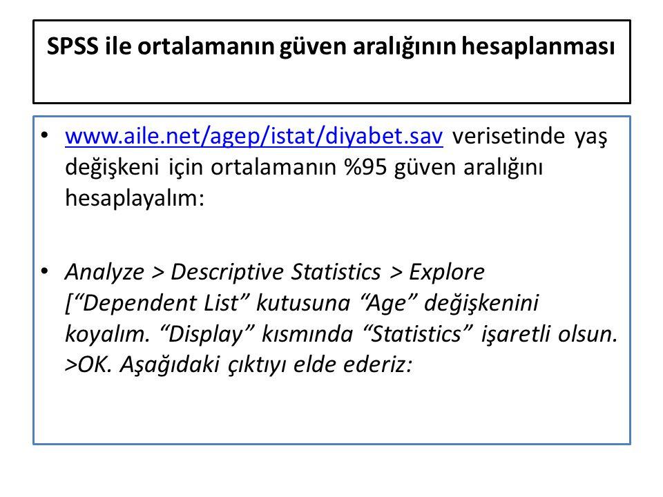 SPSS ile ortalamanın güven aralığının hesaplanması www.aile.net/agep/istat/diyabet.sav verisetinde yaş değişkeni için ortalamanın %95 güven aralığını hesaplayalım: www.aile.net/agep/istat/diyabet.sav Analyze > Descriptive Statistics > Explore [ Dependent List kutusuna Age değişkenini koyalım.