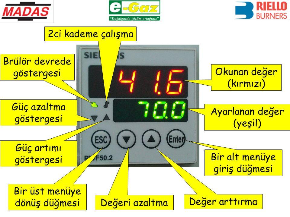 Güç artımı göstergesi Ayarlanan değer (yeşil) Okunan değer (kırmızı) Brülör devrede göstergesi Güç azaltma göstergesi 2ci kademe çalışma Bir alt menüye giriş düğmesi Değer arttırma Değeri azaltma Bir üst menüye dönüş düğmesi