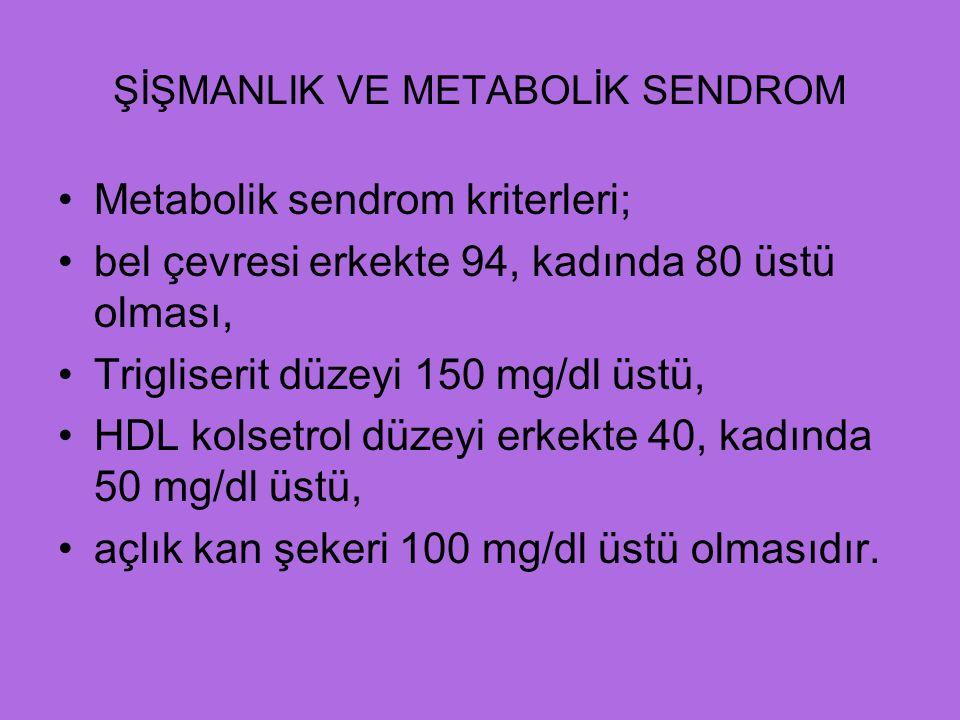 ŞİŞMANLIK VE METABOLİK SENDROM Metabolik sendrom kriterleri; bel çevresi erkekte 94, kadında 80 üstü olması, Trigliserit düzeyi 150 mg/dl üstü, HDL kolsetrol düzeyi erkekte 40, kadında 50 mg/dl üstü, açlık kan şekeri 100 mg/dl üstü olmasıdır.