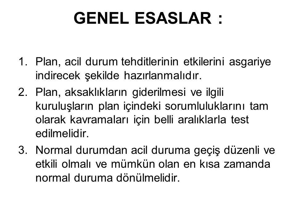 GENEL ESASLAR : 1.Plan, acil durum tehditlerinin etkilerini asgariye indirecek şekilde hazırlanmalıdır. 2.Plan, aksaklıkların giderilmesi ve ilgili ku