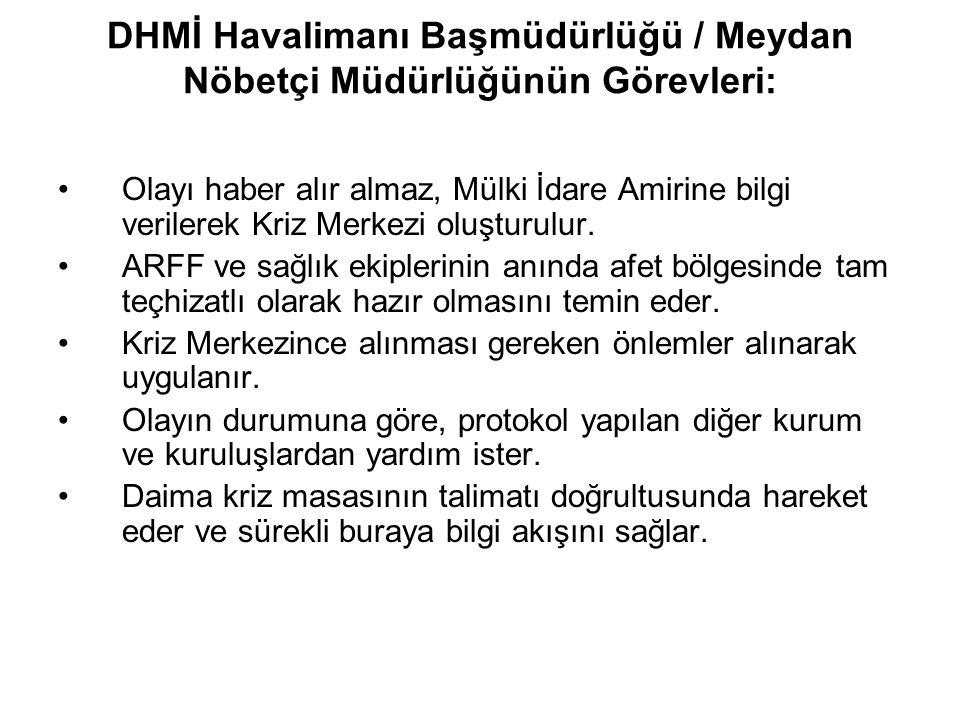 DHMİ Havalimanı Başmüdürlüğü / Meydan Nöbetçi Müdürlüğünün Görevleri: Olayı haber alır almaz, Mülki İdare Amirine bilgi verilerek Kriz Merkezi oluştur