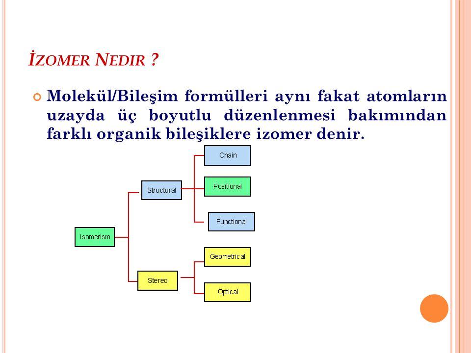 Y APıSAL İ ZOMERLER Pentane (Düz Zincir) Glukoz/Galaktoz (Pozisyonal) Glukoz/Fruktoz (Fonksiyonel) 2-methylbutane (Dallanmış Zincir)