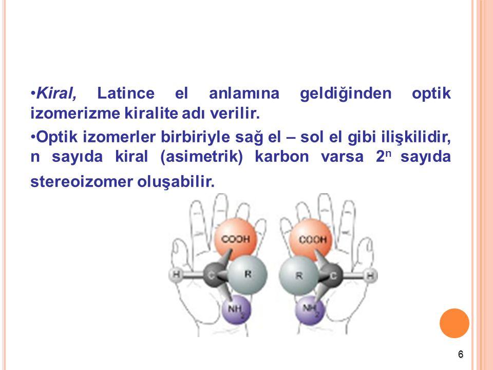 6 Kiral, Latince el anlamına geldiğinden optik izomerizme kiralite adı verilir. Optik izomerler birbiriyle sağ el – sol el gibi ilişkilidir, n sayıda