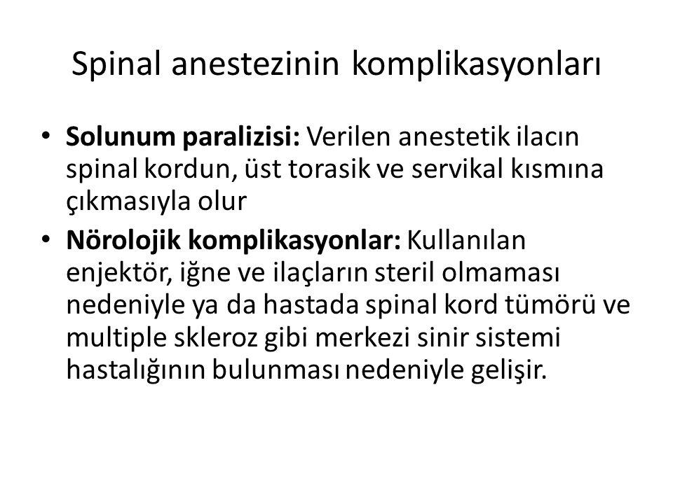 Spinal anestezinin komplikasyonları Solunum paralizisi: Verilen anestetik ilacın spinal kordun, üst torasik ve servikal kısmına çıkmasıyla olur Nörolo