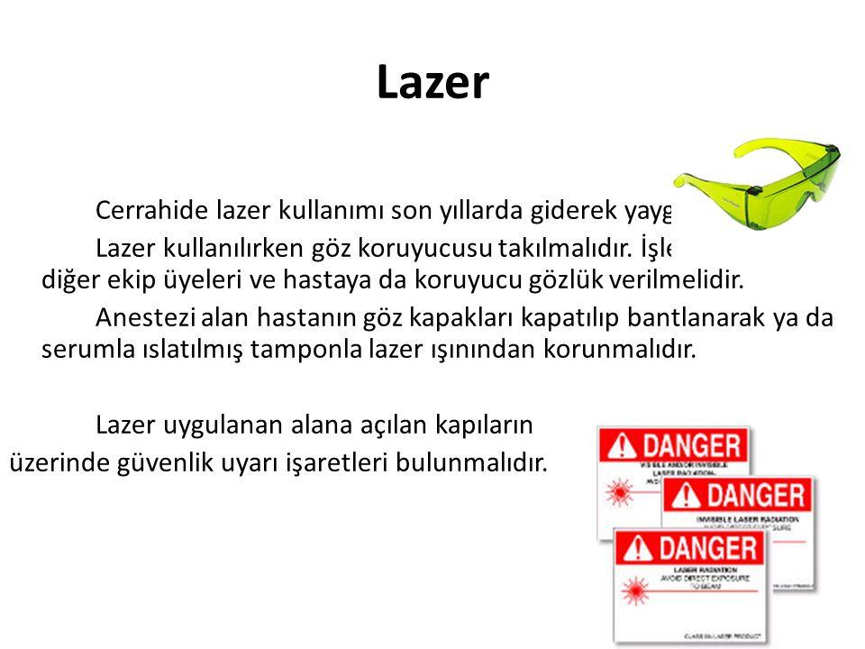 Lazer Cerrahide lazer kullanımı son yıllarda giderek yaygınlaşmıştır. Lazer kullanılırken göz koruyucusu takılmalıdır. İşlem esnasında diğer ekip üyel