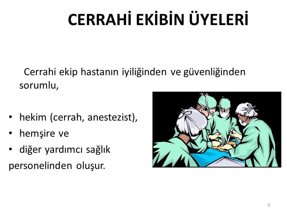 CERRAHİ EKİBİN ÜYELERİ Cerrahi ekip hastanın iyiliğinden ve güvenliğinden sorumlu, hekim (cerrah, anestezist), hemşire ve diğer yardımcı sağlık person