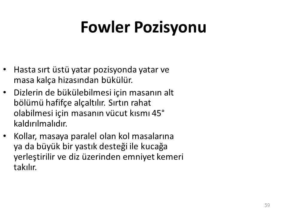 Fowler Pozisyonu Hasta sırt üstü yatar pozisyonda yatar ve masa kalça hizasından bükülür. Dizlerin de bükülebilmesi için masanın alt bölümü hafifçe al