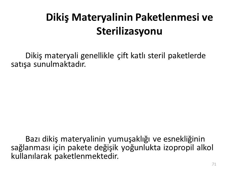 Dikiş Materyalinin Paketlenmesi ve Sterilizasyonu Dikiş materyali genellikle çift katlı steril paketlerde satışa sunulmaktadır. Bazı dikiş materyalini