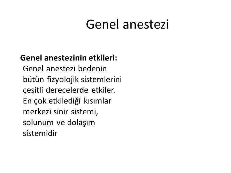 Genel anestezi Genel anestezinin etkileri: Genel anestezi bedenin bütün fizyolojik sistemlerini çeşitli derecelerde etkiler. En çok etkilediği kısımla
