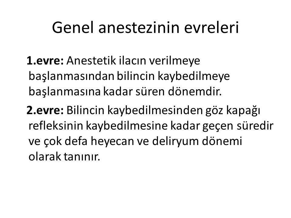 Genel anestezinin evreleri 1.evre: Anestetik ilacın verilmeye başlanmasından bilincin kaybedilmeye başlanmasına kadar süren dönemdir. 2.evre: Bilincin