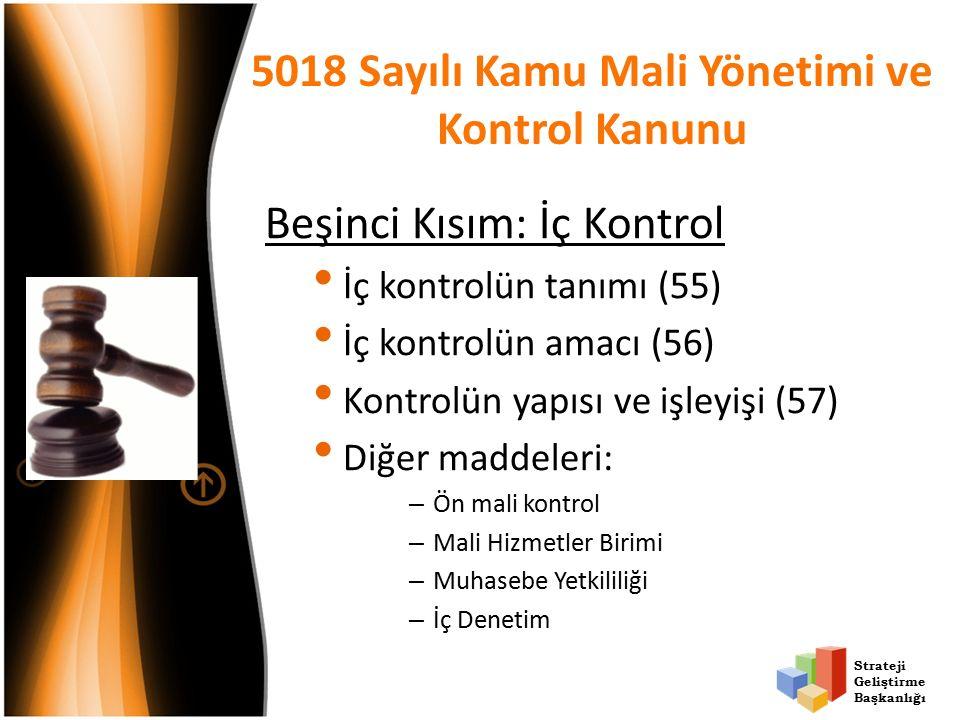 Strateji Geliştirme Başkanlığı 5018 Sayılı Kamu Mali Yönetimi ve Kontrol Kanunu Beşinci Kısım: İç Kontrol İç kontrolün tanımı (55) İç kontrolün amacı (56) Kontrolün yapısı ve işleyişi (57) Diğer maddeleri: – Ön mali kontrol – Mali Hizmetler Birimi – Muhasebe Yetkililiği – İç Denetim