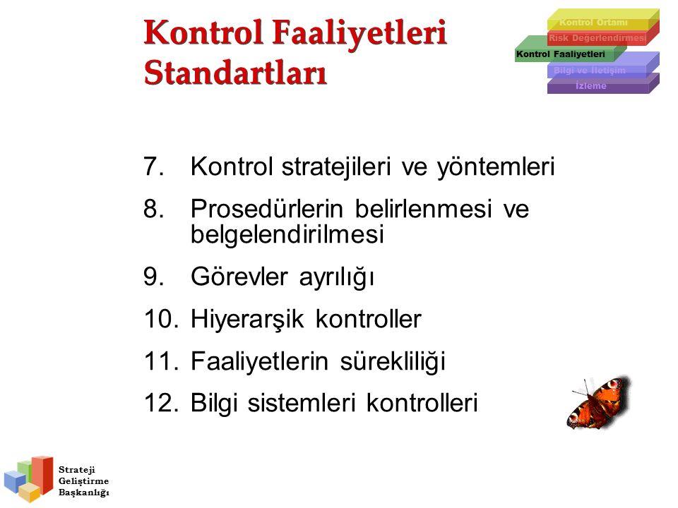 Strateji Geliştirme Başkanlığı Kontrol Faaliyetleri Standartları Kontrol Faaliyetleri Standartları Risk Değerlendirmesi Kontrol Faaliyetleri Bilgi ve İletişim İzleme Kontrol Ortamı 7.Kontrol stratejileri ve yöntemleri 8.Prosedürlerin belirlenmesi ve belgelendirilmesi 9.Görevler ayrılığı 10.Hiyerarşik kontroller 11.Faaliyetlerin sürekliliği 12.Bilgi sistemleri kontrolleri