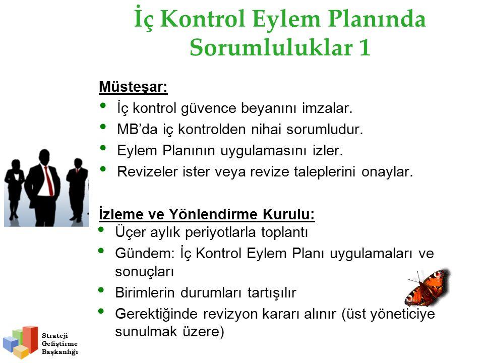 İç Kontrol Eylem Planında Sorumluluklar 1 Müsteşar: İç kontrol güvence beyanını imzalar.