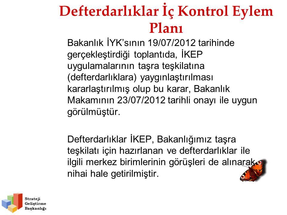 Defterdarlıklar İç Kontrol Eylem Planı Bakanlık İYK'sının 19/07/2012 tarihinde gerçekleştirdiği toplantıda, İKEP uygulamalarının taşra teşkilatına (defterdarlıklara) yaygınlaştırılması kararlaştırılmış olup bu karar, Bakanlık Makamının 23/07/2012 tarihli onayı ile uygun görülmüştür.