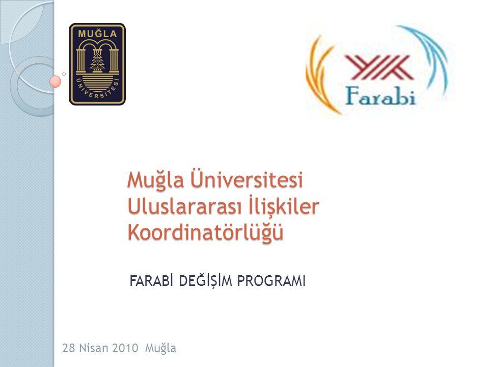 Muğla Üniversitesi Uluslararası İlişkiler Koordinatörlüğü FARABİ DEĞİŞİM PROGRAMI 28 Nisan 2010 Muğla